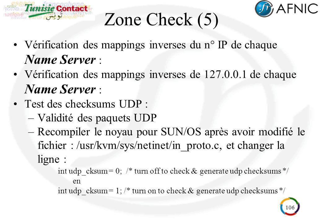 106 Zone Check (5) Vérification des mappings inverses du n° IP de chaque Name Server : Vérification des mappings inverses de 127.0.0.1 de chaque Name