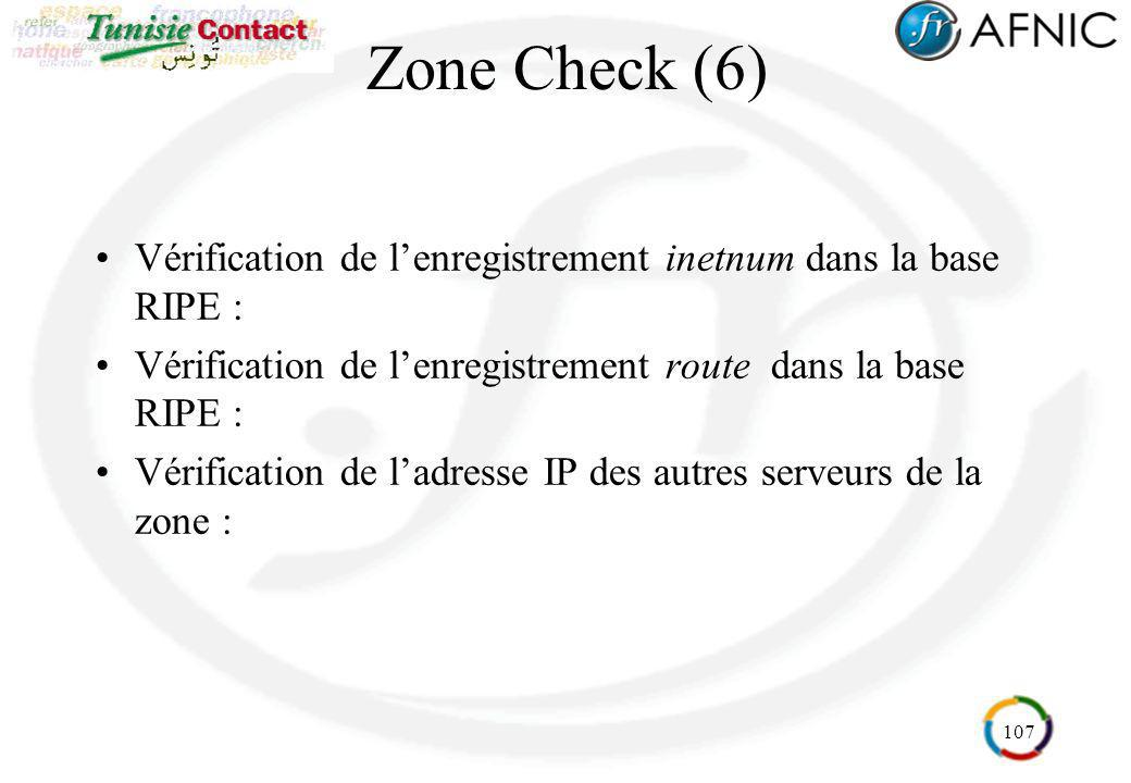 107 Zone Check (6) Vérification de lenregistrement inetnum dans la base RIPE : Vérification de lenregistrement route dans la base RIPE : Vérification