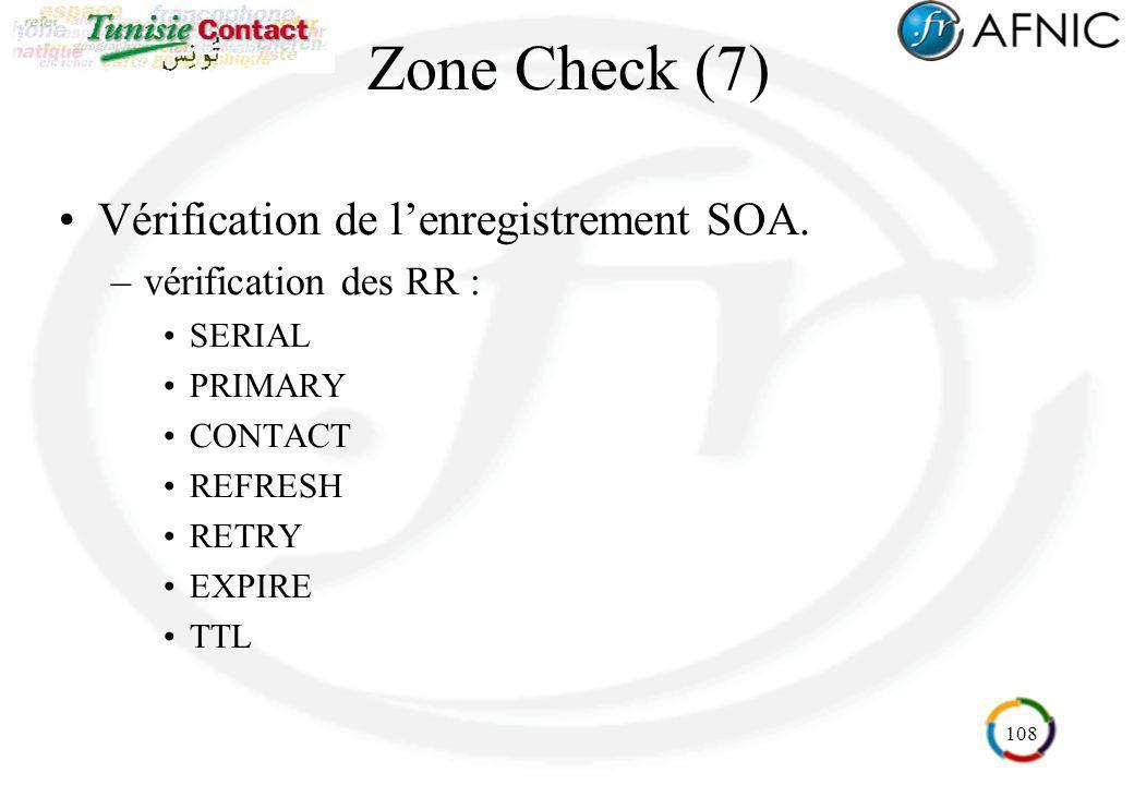 108 Zone Check (7) Vérification de lenregistrement SOA. –vérification des RR : SERIAL PRIMARY CONTACT REFRESH RETRY EXPIRE TTL