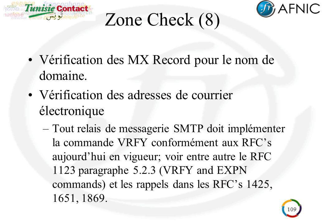 109 Zone Check (8) Vérification des MX Record pour le nom de domaine. Vérification des adresses de courrier électronique –Tout relais de messagerie SM