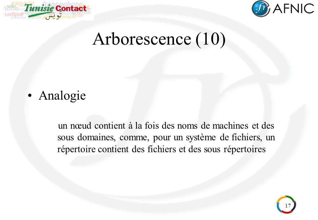 17 Arborescence (10) Analogie un nœud contient à la fois des noms de machines et des sous domaines, comme, pour un système de fichiers, un répertoire