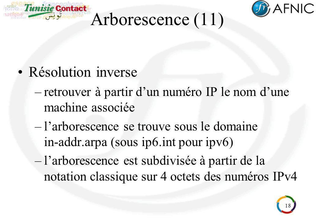 18 Arborescence (11) Résolution inverse –retrouver à partir dun numéro IP le nom dune machine associée –larborescence se trouve sous le domaine in-add