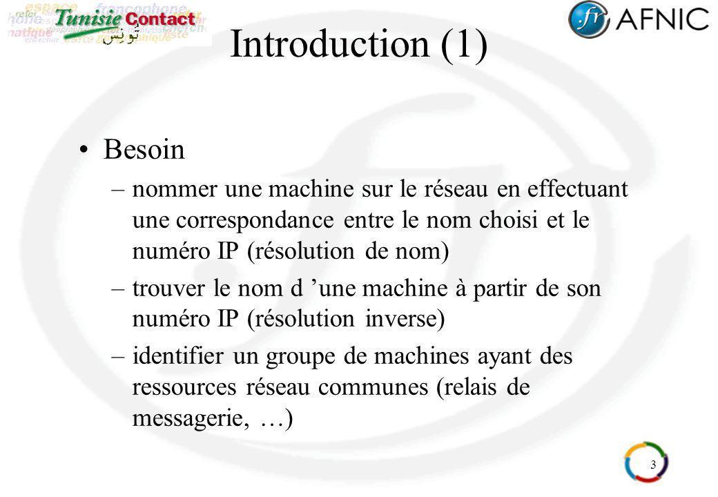4 Introduction (2) Quelques exemples simples : –nom de domaine : afnic.asso.fr –nom de machine : ftp.afnic.asso.fr adresse ip 192.134.4.13 –nom de machine : relay1.afnic.asso.fr adresse ip 192.134.4.17 –nom de machine : www.afnic.asso.fr adresse ip 192.134.4.11 –nom de machine : www.nic.fr adresse ip 192.134.4.11 –adresse IP : 192.134.4.11 www.afnic.asso.fr www.nic.fr Une information dans le DNS indique vers quelle machine diriger le courrier électronique : –Jean.Dupont@afnic.asso.fr relay1.afnic.asso.fr adresse ip 192.134.4.17