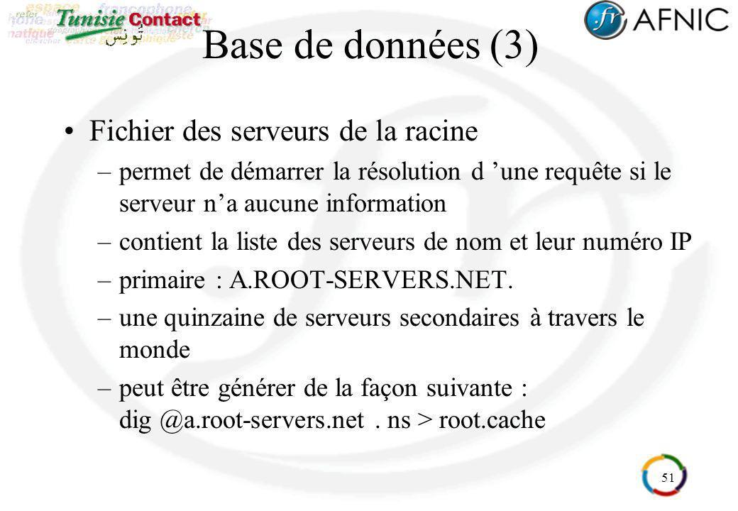 51 Base de données (3) Fichier des serveurs de la racine –permet de démarrer la résolution d une requête si le serveur na aucune information –contient