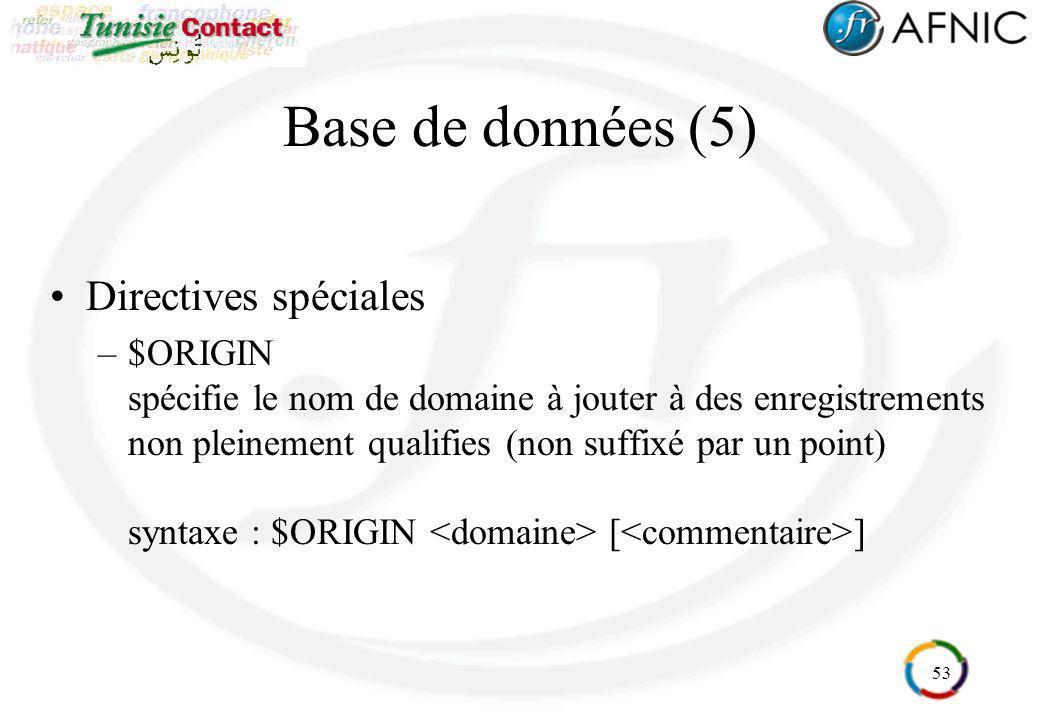 53 Base de données (5) Directives spéciales –$ORIGIN spécifie le nom de domaine à jouter à des enregistrements non pleinement qualifies (non suffixé p