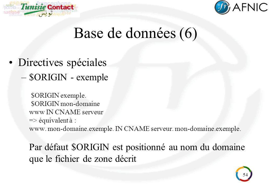 54 Base de données (6) Directives spéciales –$ORIGIN - exemple $ORIGIN exemple. $ORIGIN mon-domaine www IN CNAME serveur => équivalent à : www. mon-do