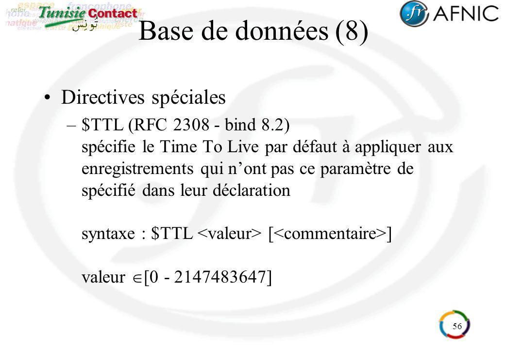 56 Base de données (8) Directives spéciales –$TTL (RFC 2308 - bind 8.2) spécifie le Time To Live par défaut à appliquer aux enregistrements qui nont p