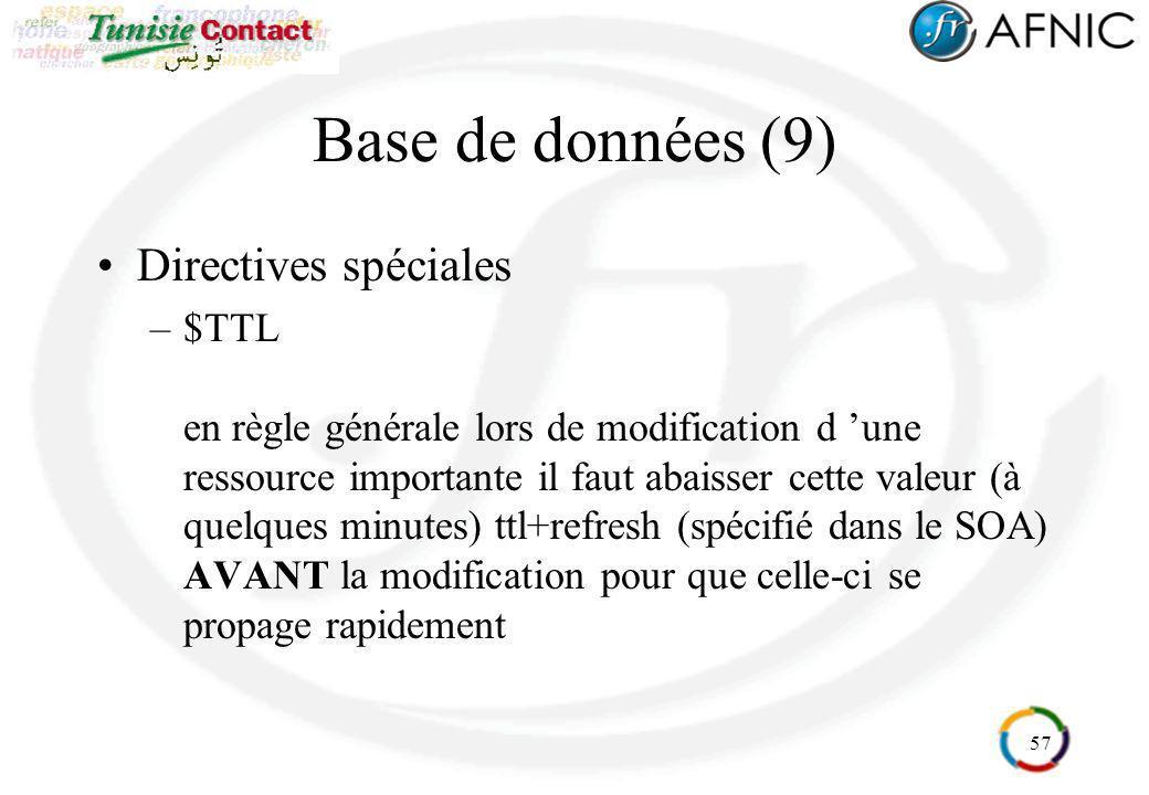 57 Base de données (9) Directives spéciales –$TTL en règle générale lors de modification d une ressource importante il faut abaisser cette valeur (à q