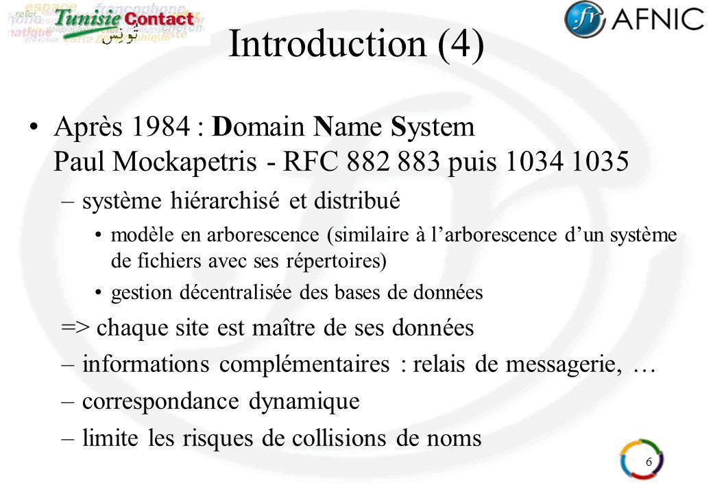 6 Introduction (4) Après 1984 : Domain Name System Paul Mockapetris - RFC 882 883 puis 1034 1035 –système hiérarchisé et distribué modèle en arboresce