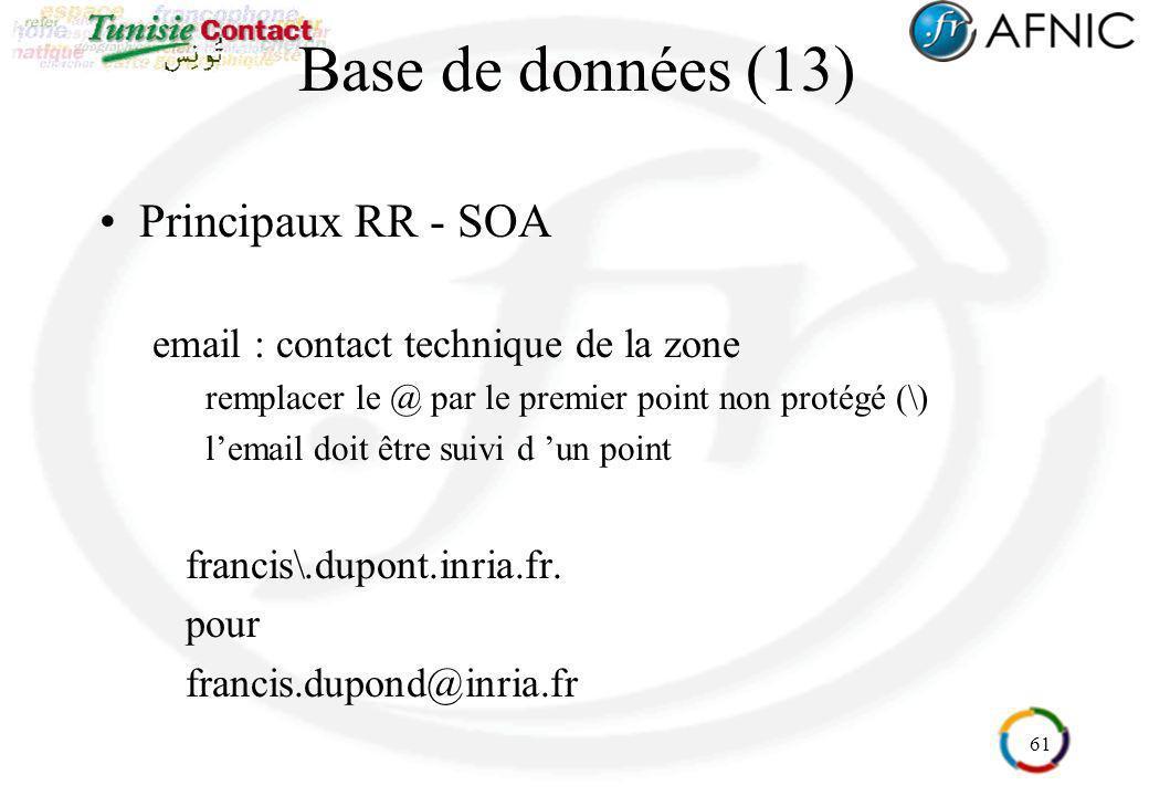 61 Base de données (13) Principaux RR - SOA email : contact technique de la zone remplacer le @ par le premier point non protégé (\) lemail doit être