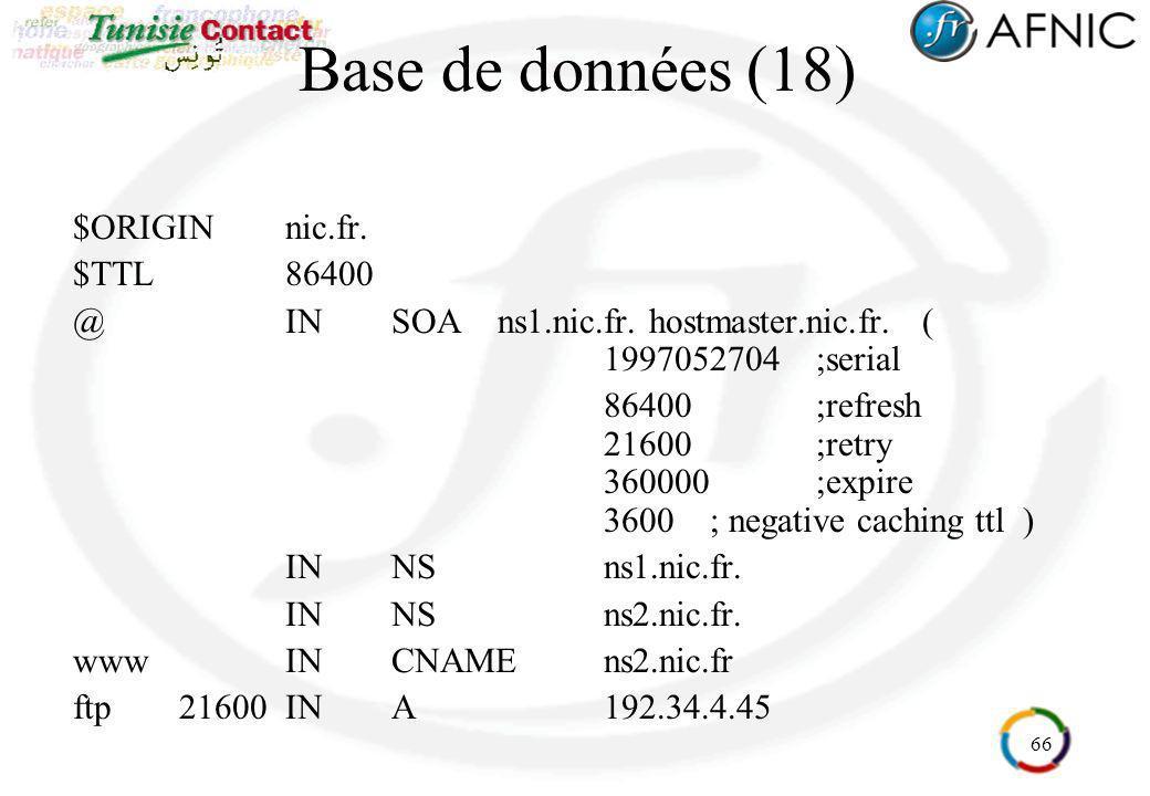66 Base de données (18) $ORIGIN nic.fr. $TTL86400 @INSOAns1.nic.fr. hostmaster.nic.fr. ( 1997052704;serial 86400;refresh 21600;retry 360000;expire 360