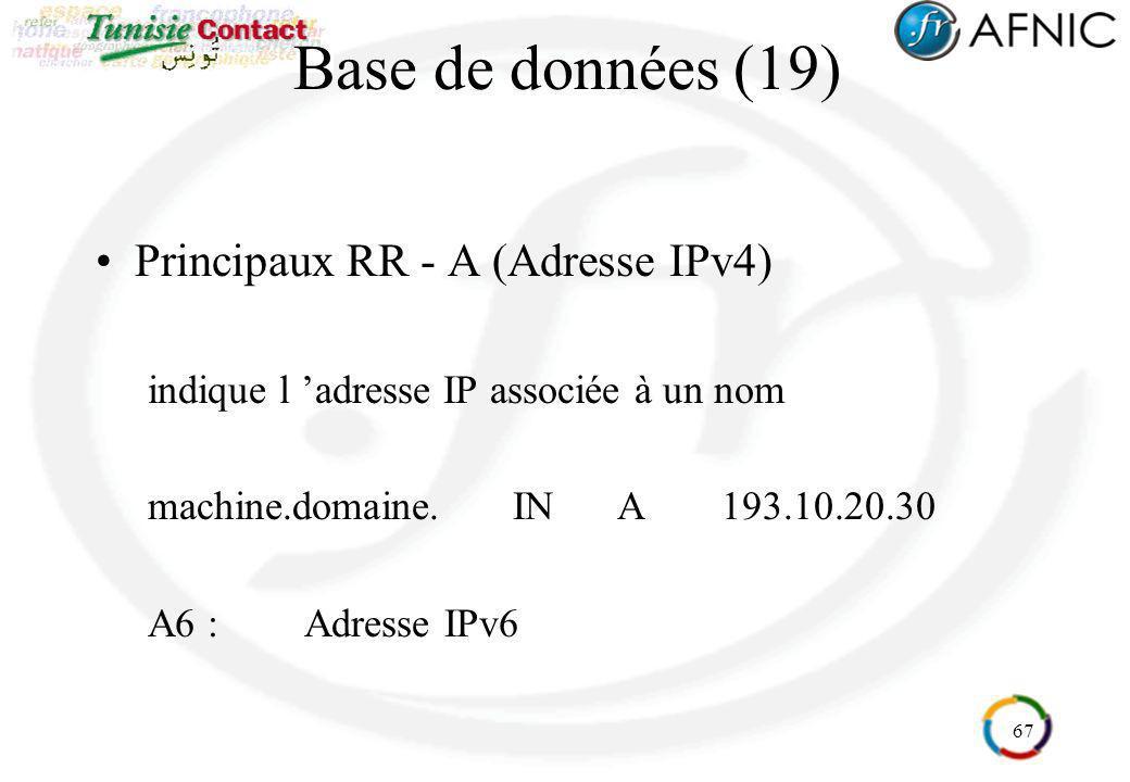 67 Base de données (19) Principaux RR - A (Adresse IPv4) indique l adresse IP associée à un nom machine.domaine.INA193.10.20.30 A6 :Adresse IPv6