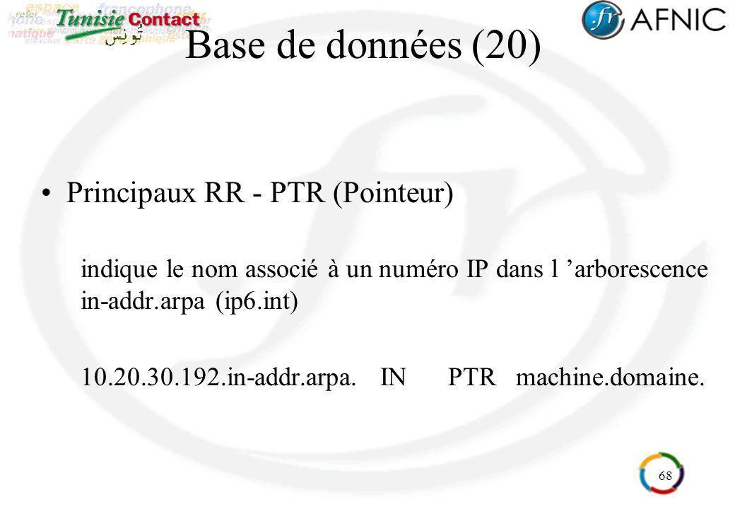 68 Base de données (20) Principaux RR - PTR (Pointeur) indique le nom associé à un numéro IP dans l arborescence in-addr.arpa (ip6.int) 10.20.30.192.i