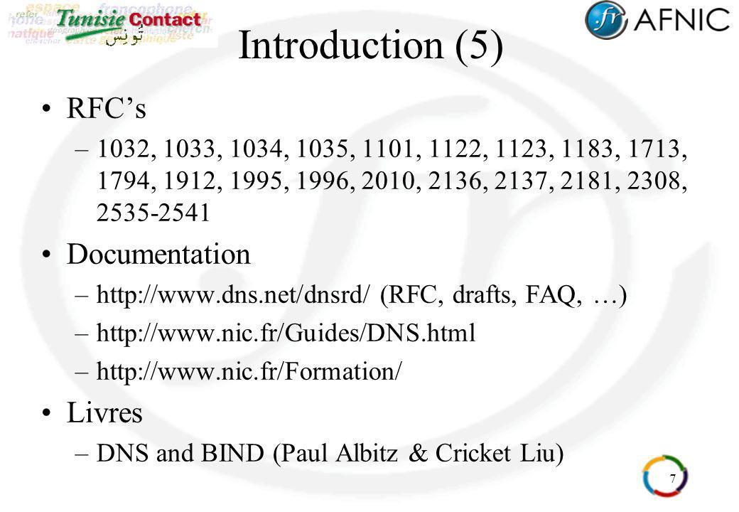 7 Introduction (5) RFCs –1032, 1033, 1034, 1035, 1101, 1122, 1123, 1183, 1713, 1794, 1912, 1995, 1996, 2010, 2136, 2137, 2181, 2308, 2535-2541 Documen