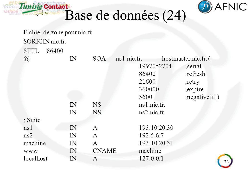 72 Base de données (24) Fichier de zone pour nic.fr $ORIGIN nic.fr. $TTL86400 @INSOAns1.nic.fr.hostmaster.nic.fr. ( 1997052704;serial 86400;refresh 21