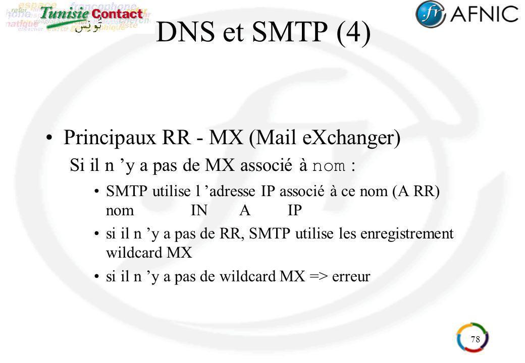 78 DNS et SMTP (4) Principaux RR - MX (Mail eXchanger) Si il n y a pas de MX associé à nom : SMTP utilise l adresse IP associé à ce nom (A RR) nomINAI