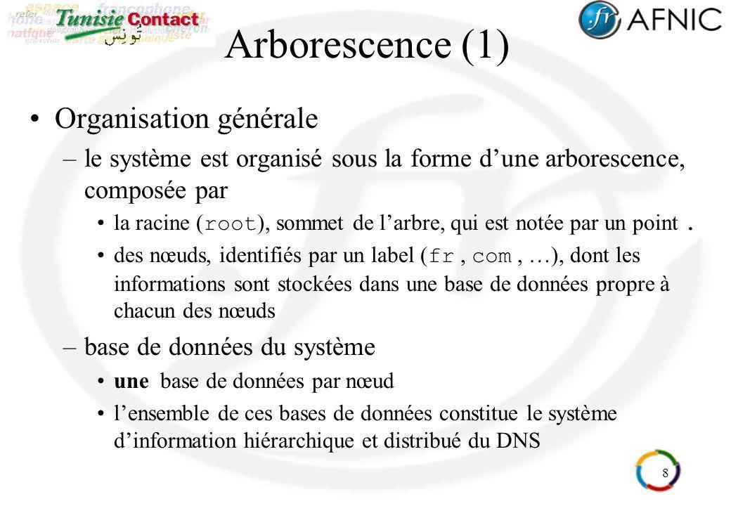 19 Arborescence (12) Parcours de larbre et résolution inverse –le nom de domaine est inversé par apport au numéro IP domaine : 133.2.1.193.in-addr.arpa.