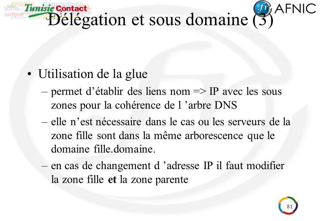 81 Délégation et sous domaine (3) Utilisation de la glue –permet détablir des liens nom => IP avec les sous zones pour la cohérence de l arbre DNS –el