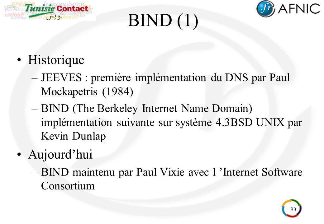 83 BIND (1) Historique –JEEVES : première implémentation du DNS par Paul Mockapetris (1984) –BIND (The Berkeley Internet Name Domain) implémentation s