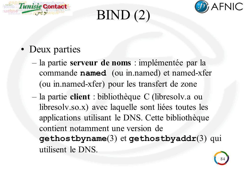 84 BIND (2) Deux parties –la partie serveur de noms : implémentée par la commande named (ou in.named) et named-xfer (ou in.named-xfer) pour les transf