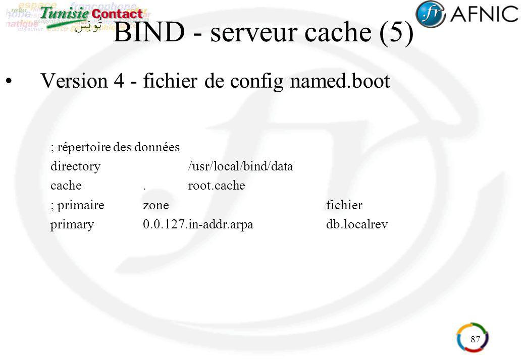 87 BIND - serveur cache (5) Version 4 - fichier de config named.boot ; répertoire des données directory/usr/local/bind/data cache.root.cache ; primair