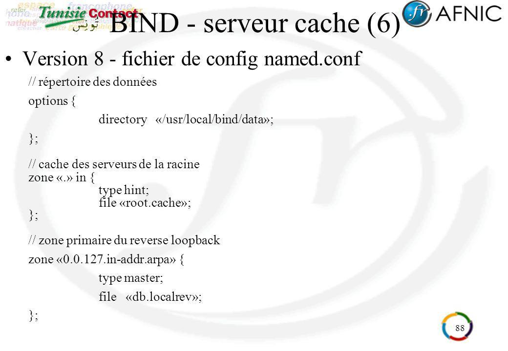88 BIND - serveur cache (6) Version 8 - fichier de config named.conf // répertoire des données options { directory «/usr/local/bind/data»; }; // cache