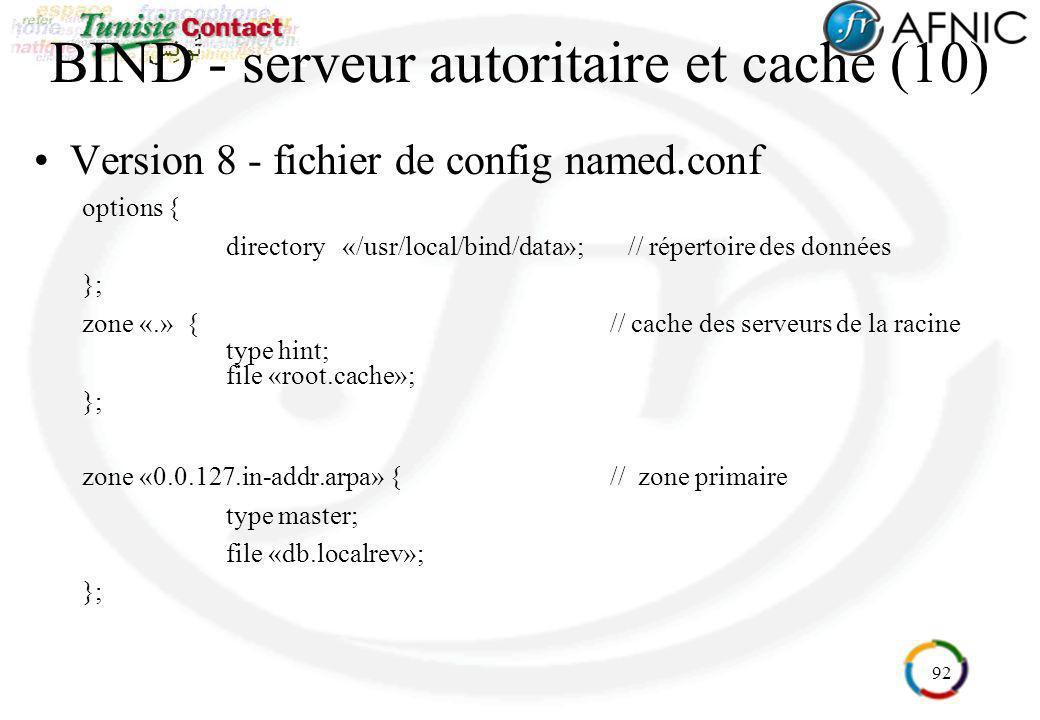 92 BIND - serveur autoritaire et cache (10) Version 8 - fichier de config named.conf options { directory «/usr/local/bind/data»; // répertoire des don