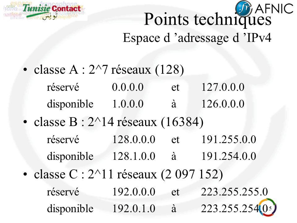 15 Points techniques Espace d adressage d IPv4 classe A : 2^7 réseaux (128) réservé0.0.0.0 et 127.0.0.0 disponible1.0.0.0 à126.0.0.0 classe B : 2^14 réseaux (16384) réservé128.0.0.0et191.255.0.0 disponible128.1.0.0à191.254.0.0 classe C : 2^11 réseaux (2 097 152) réservé192.0.0.0et 223.255.255.0 disponible192.0.1.0à223.255.254.0