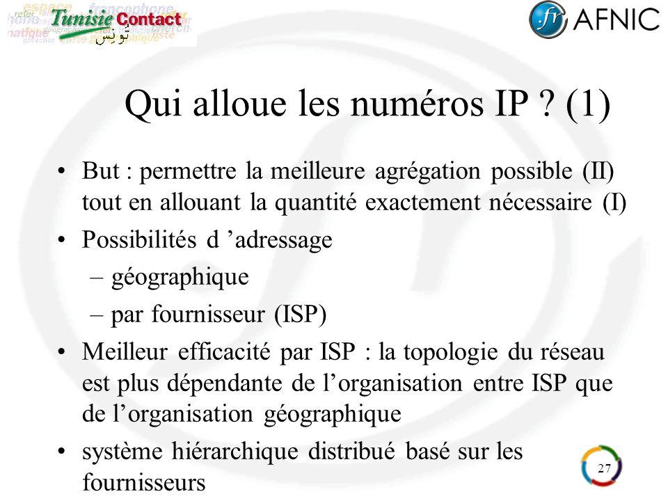 27 Qui alloue les numéros IP .