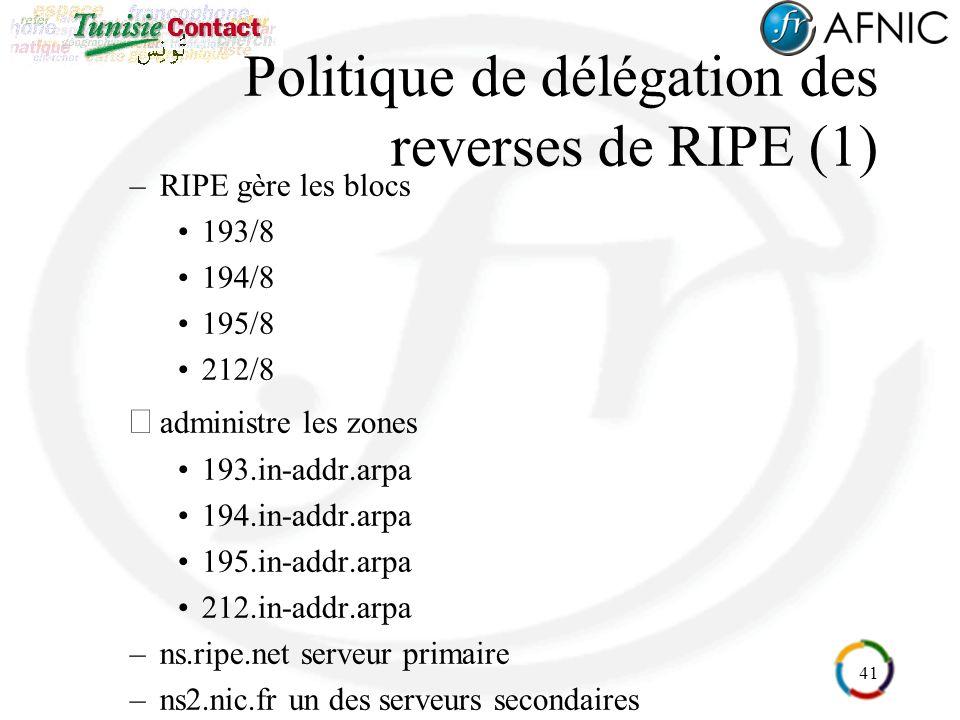 41 Politique de délégation des reverses de RIPE (1) –RIPE gère les blocs 193/8 194/8 195/8 212/8 administre les zones 193.in-addr.arpa 194.in-addr.arpa 195.in-addr.arpa 212.in-addr.arpa –ns.ripe.net serveur primaire –ns2.nic.fr un des serveurs secondaires