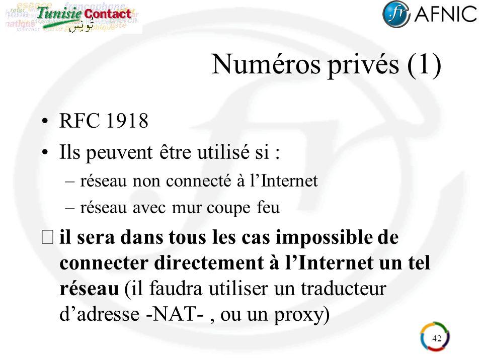42 Numéros privés (1) RFC 1918 Ils peuvent être utilisé si : –réseau non connecté à lInternet –réseau avec mur coupe feu il sera dans tous les cas impossible de connecter directement à lInternet un tel réseau (il faudra utiliser un traducteur dadresse -NAT-, ou un proxy)
