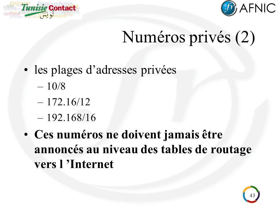 43 Numéros privés (2) les plages dadresses privées –10/8 –172.16/12 –192.168/16 Ces numéros ne doivent jamais être annoncés au niveau des tables de routage vers l Internet