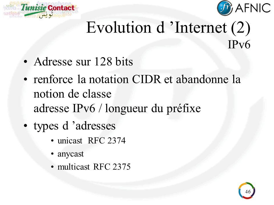 46 Evolution d Internet (2) IPv6 Adresse sur 128 bits renforce la notation CIDR et abandonne la notion de classe adresse IPv6 / longueur du préfixe types d adresses unicast RFC 2374 anycast multicast RFC 2375