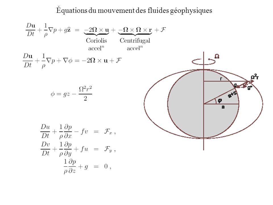 Équations du mouvement des fluides géophysiques