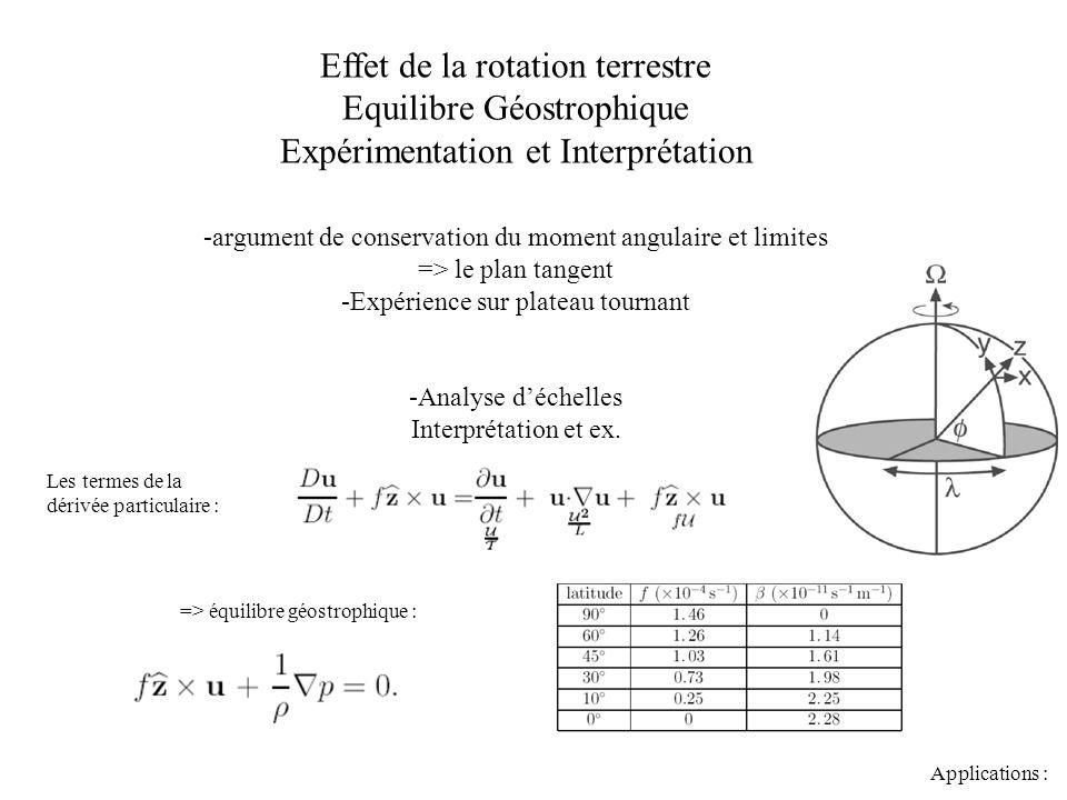 => équilibre géostrophique : Effet de la rotation terrestre Equilibre Géostrophique Expérimentation et Interprétation -argument de conservation du mom