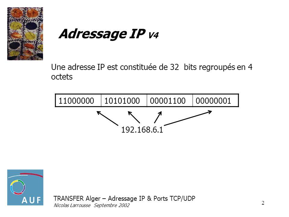 TRANSFER Alger – Adressage IP & Ports TCP/UDP Nicolas Larrousse Septembre 2002 2 Adressage IP V4 11000000101010000000110000000001 Une adresse IP est c