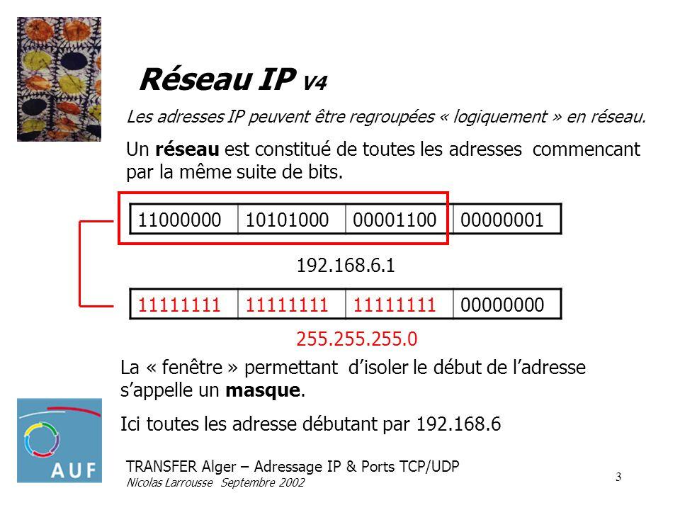 TRANSFER Alger – Adressage IP & Ports TCP/UDP Nicolas Larrousse Septembre 2002 4 Réseau IP V4 11000000101010000000110000000000 La première adresse désigne le réseau entier (ici 192.168.6.0) La dernière adresse désigne ladresse de diffusion (broadcast) adresse toutes les machines dun réseau (ici 192.168.6.255) 192.168.6.0 11111111 00000000 Dans lexemple, on parle du réseau 192.168.6.0 avec le masque de sous réseau 255.255.255.0 Il est noté plus simplement 192.168.6.0/24 255.255.255.0 24 bits