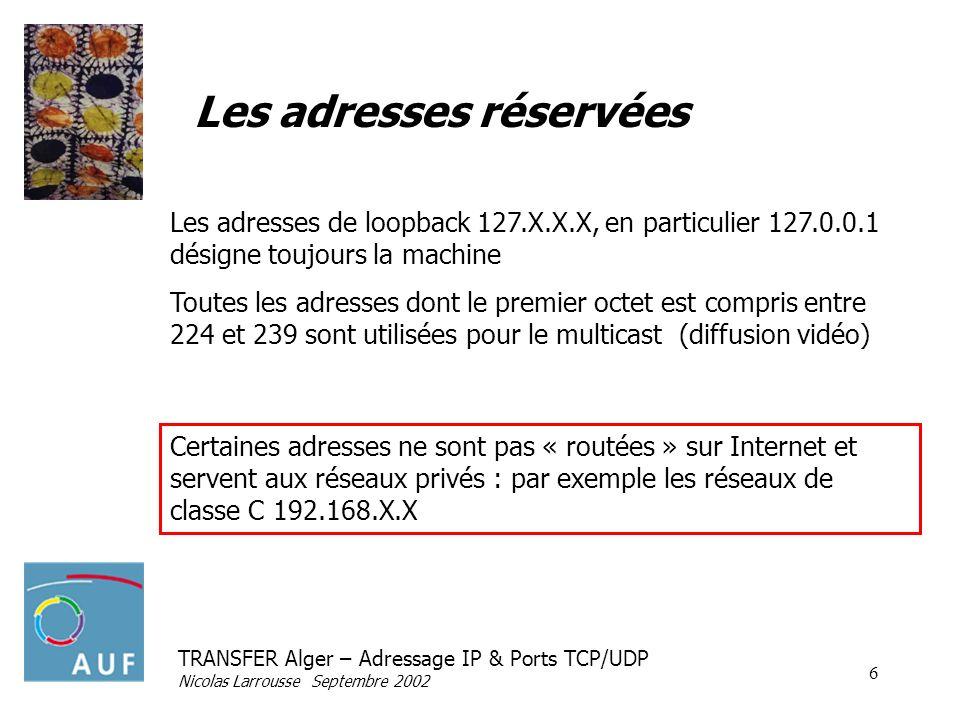 TRANSFER Alger – Adressage IP & Ports TCP/UDP Nicolas Larrousse Septembre 2002 7 Ports TCP & UDP (multiplexage) IP DNS (UDP + TCP) HTTP (80 TCP) HTTP (TCP) DNS (UDP + TCP) TELNET (23 TCP) Le port permet daiguiller les données sur le programme qui « écoute » sur ce port
