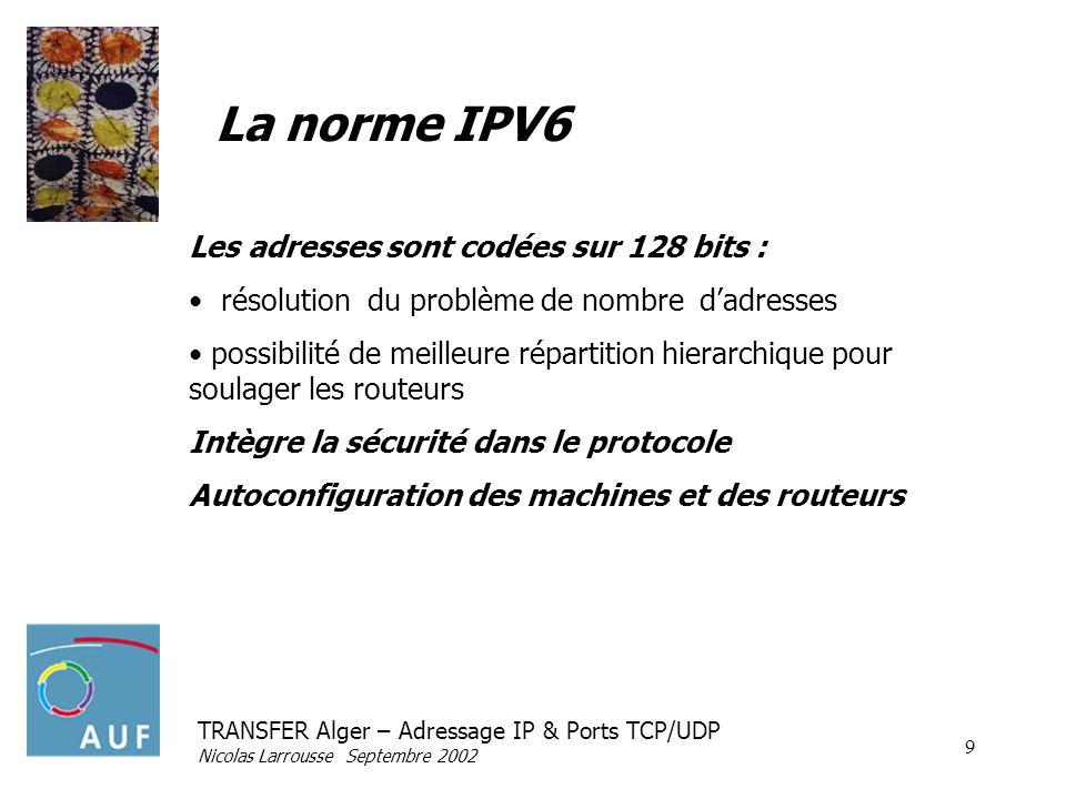 TRANSFER Alger – Adressage IP & Ports TCP/UDP Nicolas Larrousse Septembre 2002 9 La norme IPV6 Les adresses sont codées sur 128 bits : résolution du p