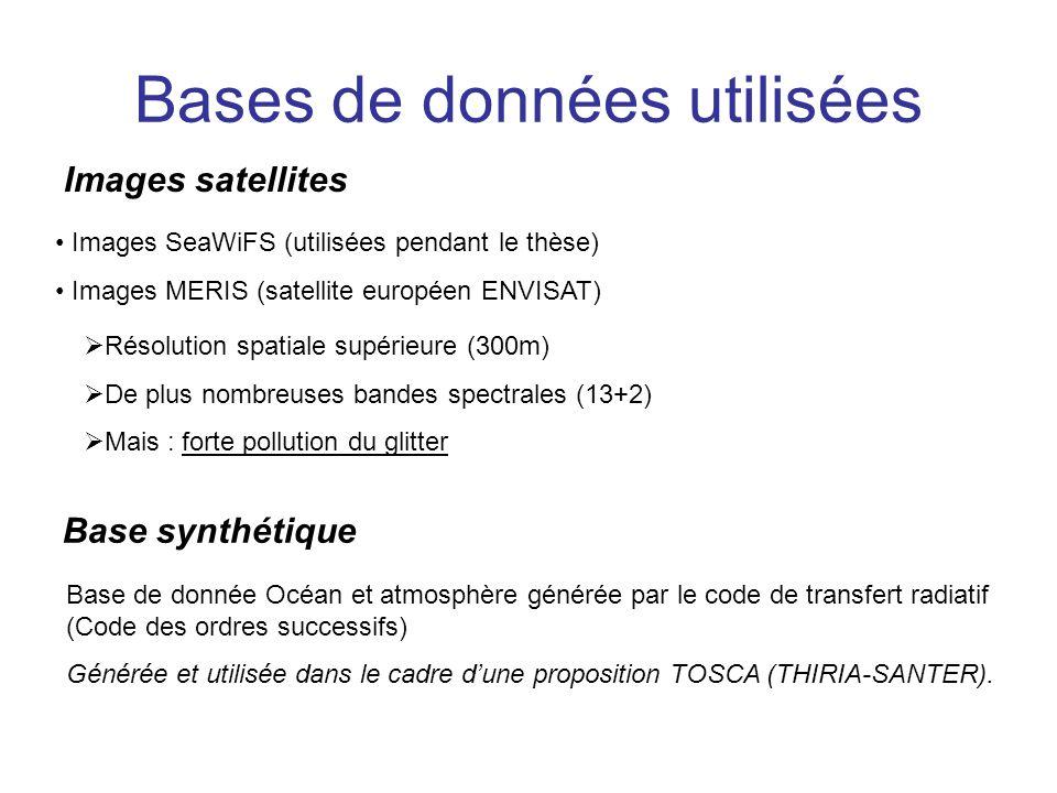 Bases de données utilisées Images satellites Images SeaWiFS (utilisées pendant le thèse) Images MERIS (satellite européen ENVISAT) Résolution spatiale