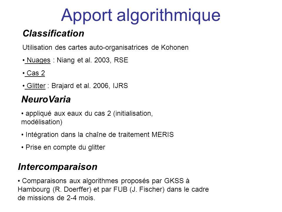 Apport algorithmique Classification Utilisation des cartes auto-organisatrices de Kohonen Nuages : Niang et al. 2003, RSE Cas 2 Glitter : Brajard et a
