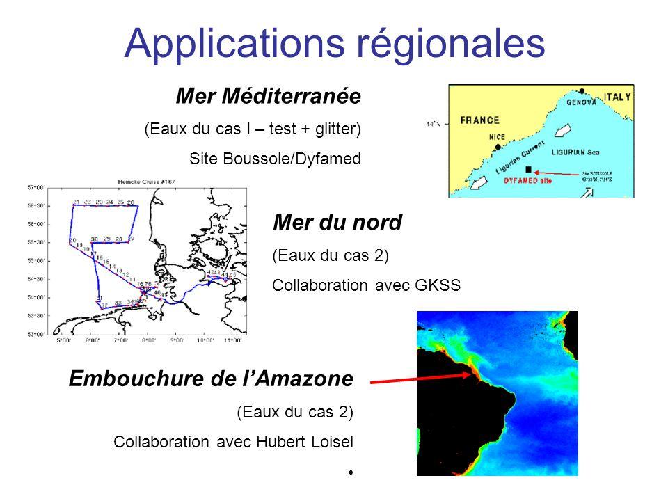 Applications régionales Mer Méditerranée (Eaux du cas I – test + glitter) Site Boussole/Dyfamed Mer du nord (Eaux du cas 2) Collaboration avec GKSS Em