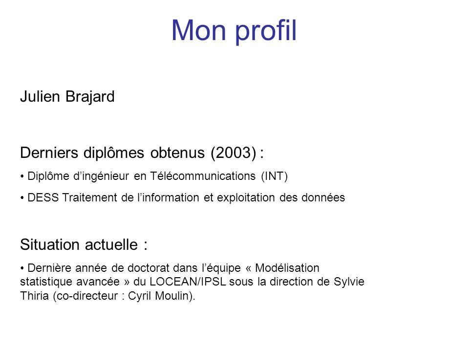 Mon profil Julien Brajard Derniers diplômes obtenus (2003) : Diplôme dingénieur en Télécommunications (INT) DESS Traitement de linformation et exploit