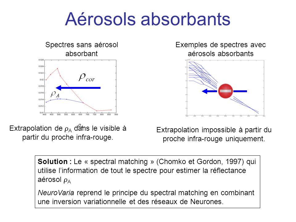Aérosols absorbants Extrapolation de A dans le visible à partir du proche infra-rouge. Extrapolation impossible à partir du proche infra-rouge uniquem