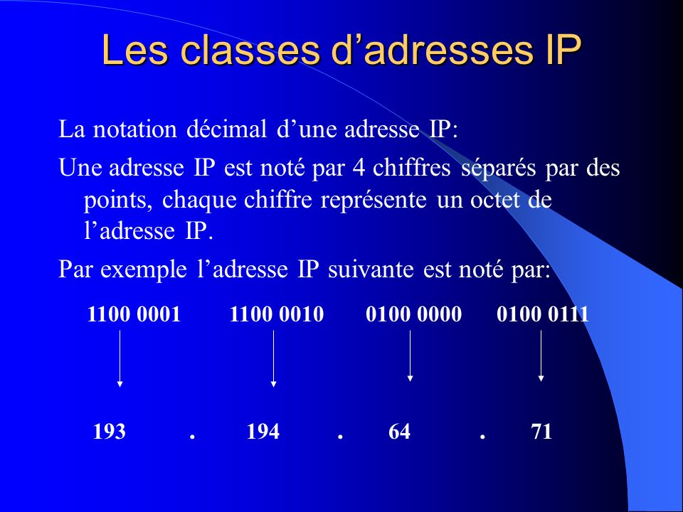 Les classes dadresses IP La notation décimal dune adresse IP: Une adresse IP est noté par 4 chiffres séparés par des points, chaque chiffre représente