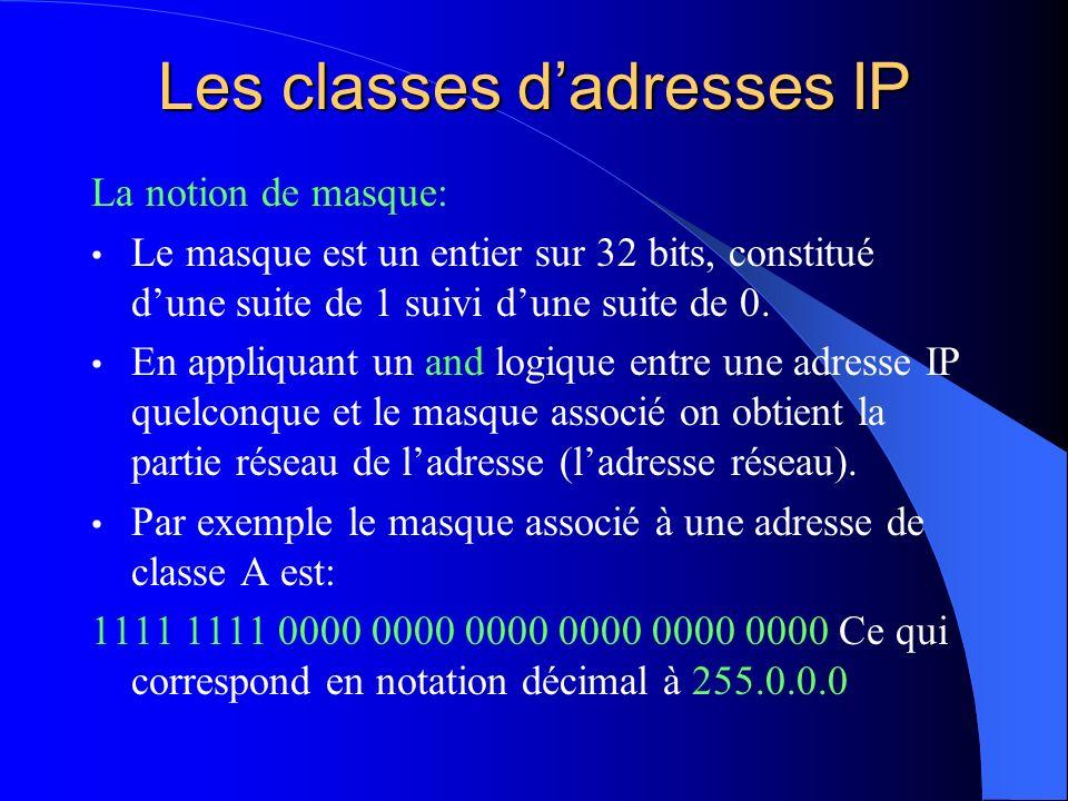 Les classes dadresses IP La notion de masque: Le masque est un entier sur 32 bits, constitué dune suite de 1 suivi dune suite de 0. En appliquant un a