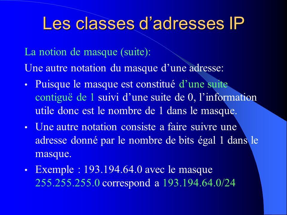 Les classes dadresses IP La notion de masque (suite): Une autre notation du masque dune adresse: Puisque le masque est constitué dune suite contiguë d