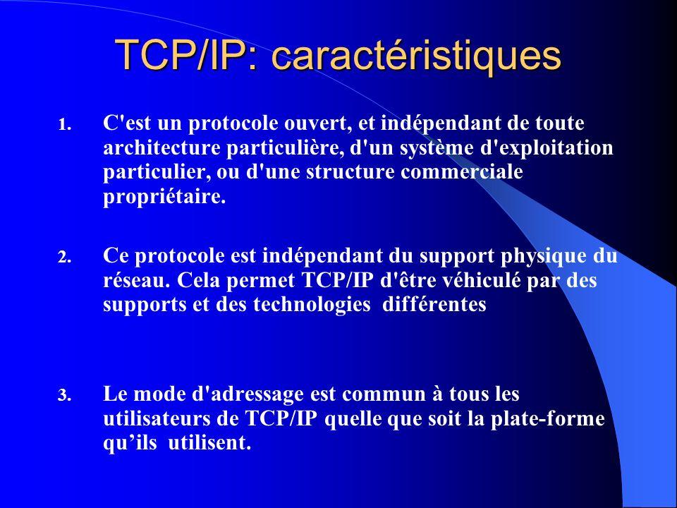 TCP/IP: caractéristiques 1. C'est un protocole ouvert, et indépendant de toute architecture particulière, d'un système d'exploitation particulier, ou
