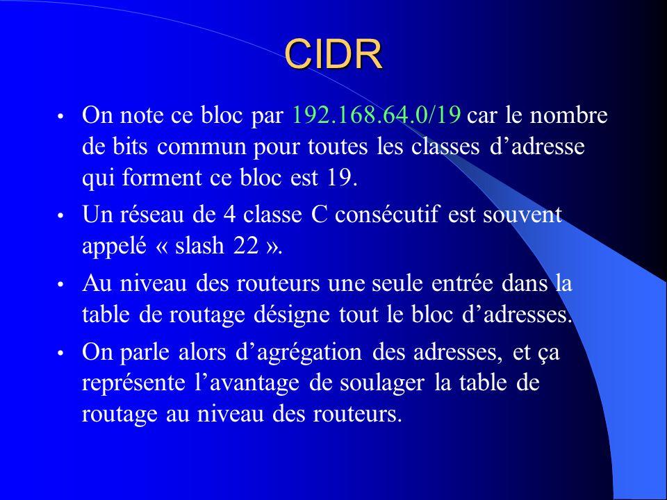CIDR On note ce bloc par 192.168.64.0/19 car le nombre de bits commun pour toutes les classes dadresse qui forment ce bloc est 19. Un réseau de 4 clas