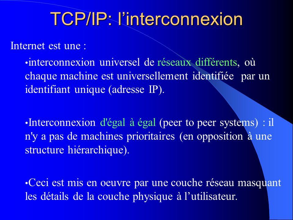 TCP/IP : linterconnexion P1 Reseau A Reseau BP2Reseau C Les données transitent depuis un réseau vers un autre réseau par des noeuds spécialisés appelés passerelles (gateway) ou routeurs (router).